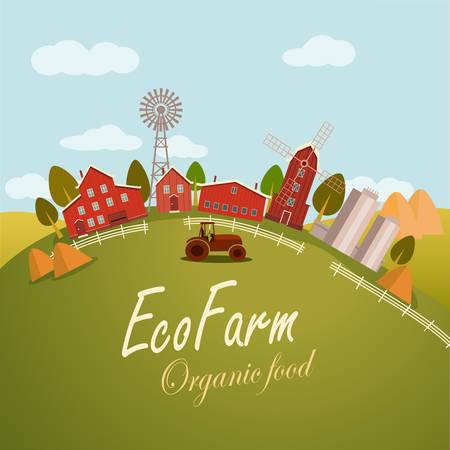 granary: Vector illustration for fresh food. Eco farm concept  Illustration