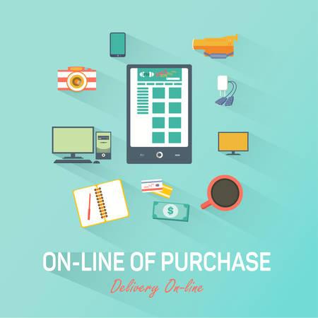 Online shopping. Vector advertising of online market