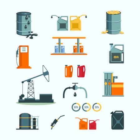 refinería de petróleo: Objetos vectoriales industria de petróleo y gasolina Vectores
