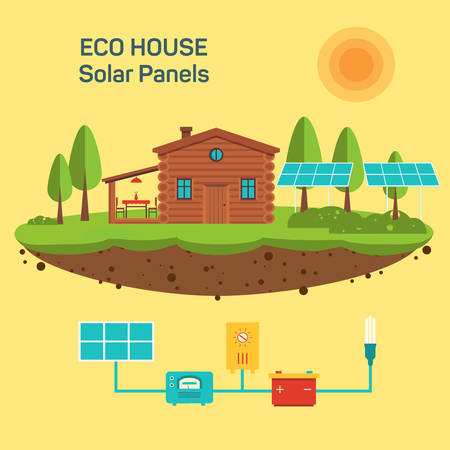 solar roof: Vector eco green house. Environmentally friendly home. Illustration of energy-independent house. Illustration