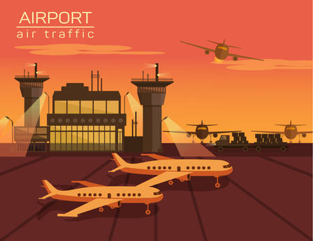 plane landing: Vector illustration of airport