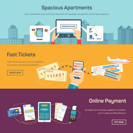 Vector illustration of reserving tickets online. Paying bills, booking apartments