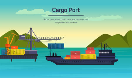 construction machines: Vector flat global transportation concept illustration. Cargo ships in harbor.