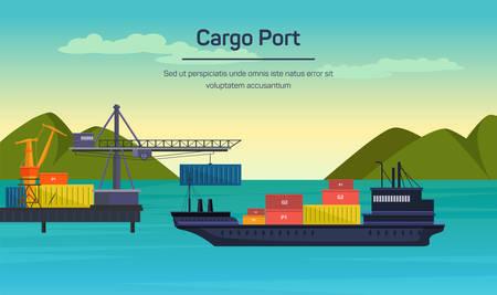 Vector plana global ilustración concepto de transporte. Los buques de carga en el puerto.