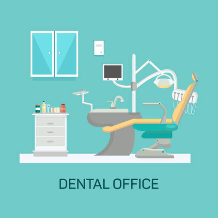 Vector dental office with seat and equipment tools. Medical arm-chair illustration Çizim