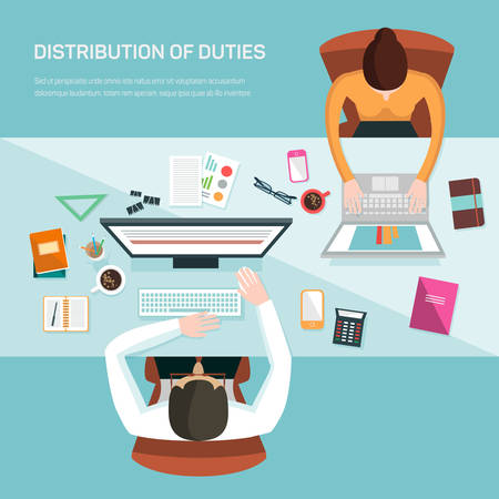 duties: Vector illustration for office workers. Distribution of duties at work