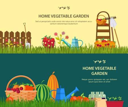 jardinero: Vector trabajos de jardiner�a. Herramientas de trabajo establecidos para el jard�n Vectores