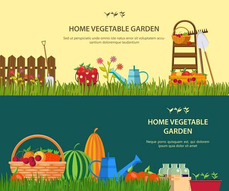 Vector garden work. Working tools set for garden