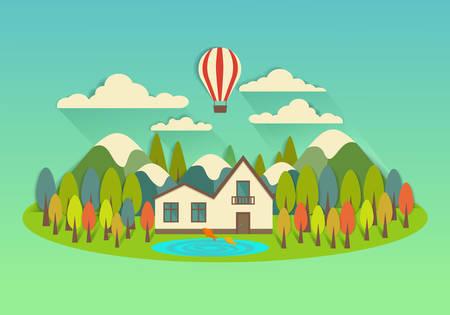 badminton: Vector city on the island with balloon  Illustration