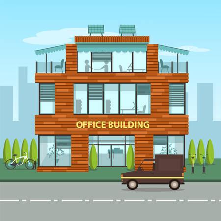 Modern kantoorgebouw in cartoon vlakke stijl. Interieur en exterieur, het kantoor binnen en buiten. Vector illustratie met grote skyline van de stad en kantoorgebouw aan de voorkant ervan. Cutaway kantoorgebouw