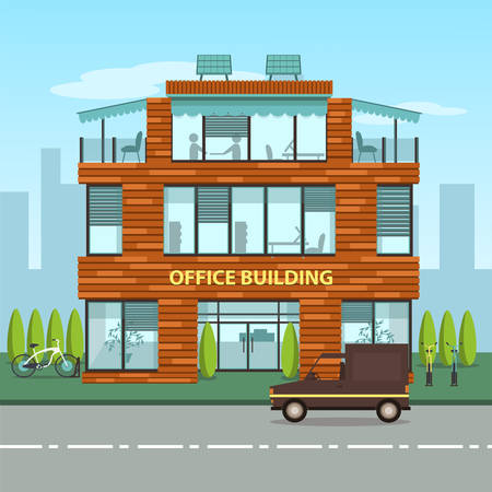 Modern office building in cartoon flat style. Interior and exterior, office inside and outside. Vector illustration with big city skyline and office building in front of it. Cutaway office building Vettoriali