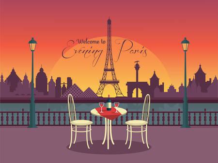paris vintage: Vista del vector de la noche parís de la cafetería Vectores