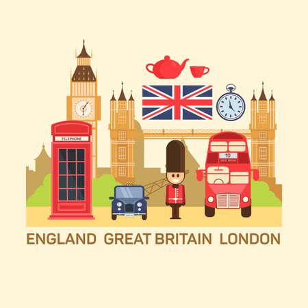 bandera de gran bretaña: Ilustración vectorial de Gran Bretaña y Londres. Vectores