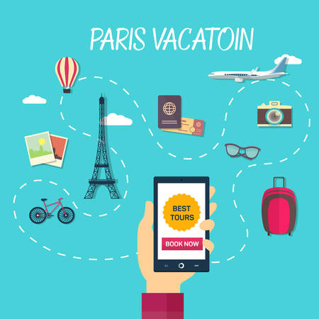 through travel: Vector path of travel through france ending at eiffel tower Illustration