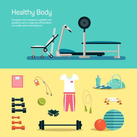 Establece gimnasio de Vecotr. Entrenamiento y salud Vectores