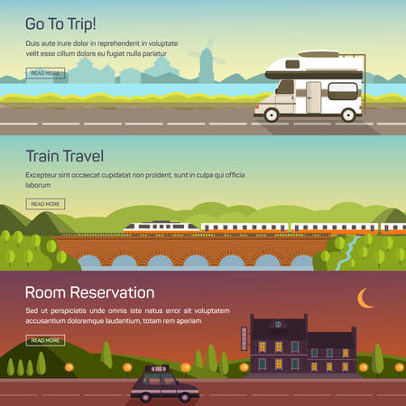 Vector set of illustrations of travelling by car, bus, train