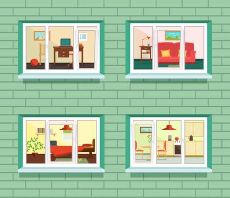 view window: Vector window view of flat design