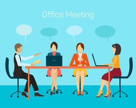 man presenting: Vector for business people, man and woman, at meeting table, discussing, presenting and explaining concept. Flat design. Illustration