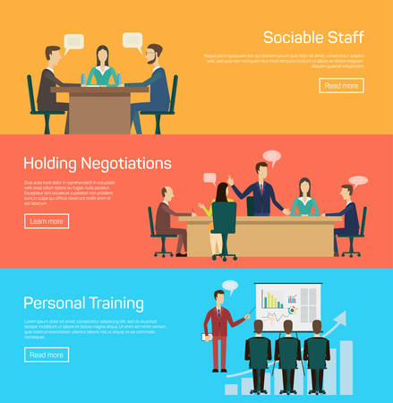 staff meeting: Vector illustration of flat negotiations and personal traning Illustration