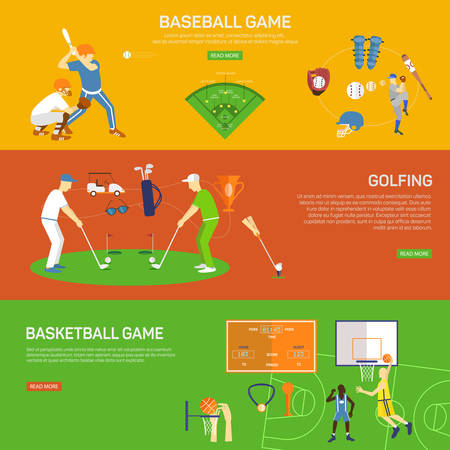 Sporting vector paintings, illustration banners