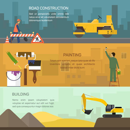 road construction: Vector illustration of road construction, painting, building,