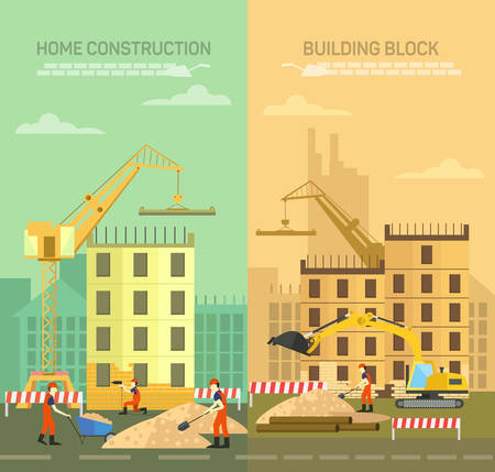 constructing: Vector illustration of constructing, building houses  Illustration