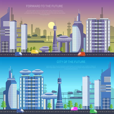Vector city of the future, illustration   Çizim