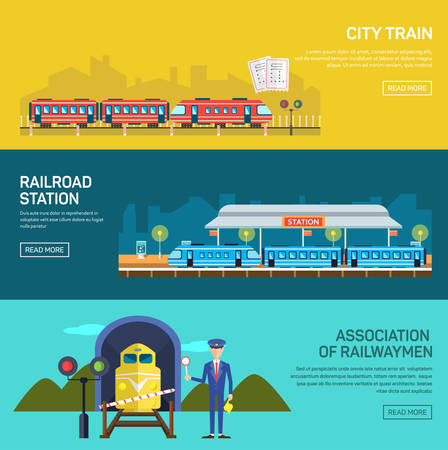 Bahnkonzept mit Bahnhof Steward Eisenbahnpassagier flachen Icons Set isolierten Vektor-Illustration Standard-Bild - 44852857