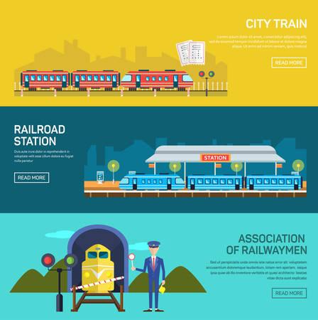 Ontwerp Railway begrip set met treinstation steward spoorlijn passagier vlakke pictogrammen geïsoleerd vector illustratie