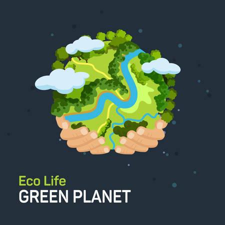 globe: Concept de Jour de la Terre. Les mains humaines tenant un globe flottant dans l'espace. Sauver notre plan�te. Style vecteur plat isol� illustration.