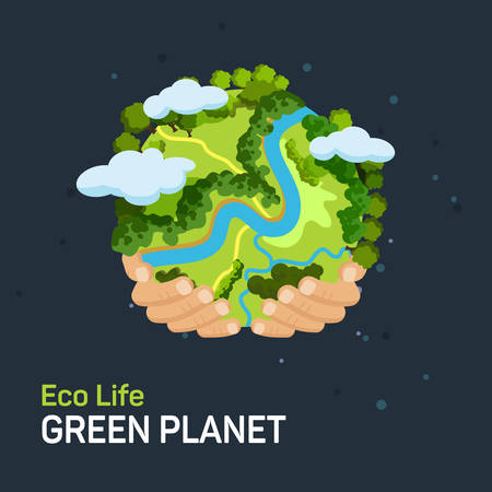 eco power: Earth day concept. Human hands holding floating globe in space. Save our planet. Flat style vector isolated illustration.
