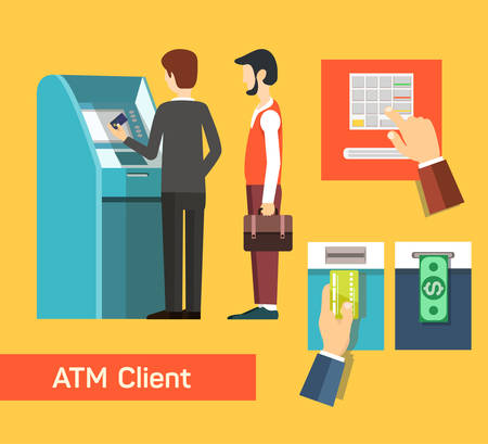automatic teller machine: ATM machine money deposit and withdrawal. Payment using credit card. Flat icon set. EPS 10 vector.