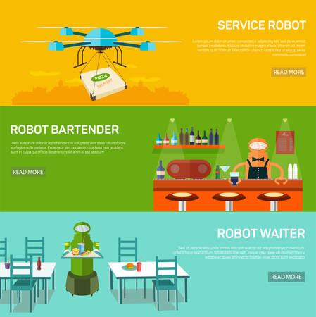 Roboter-Service-Design-Konzept mit Service-Roboter, Roboter und Roboter Barkeeper Kellner Flach Banner isoliert Vektor-Illustration festgelegt. Neue Technologien in das Leben der Menschen.