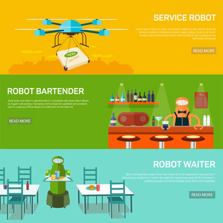 Robots service design concept set with service robot,  robot bartender and robot waiter flat banners isolated vector illustration. New technologies in peoples lives. Illustration