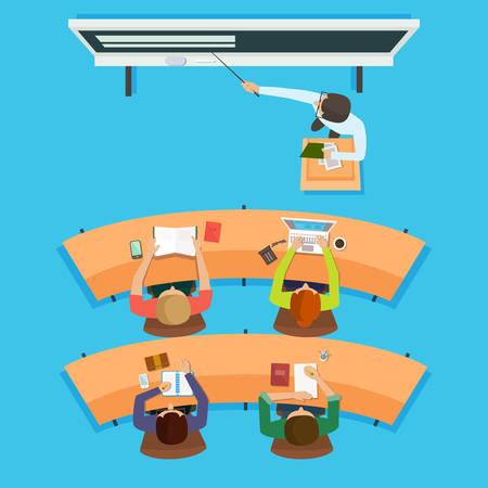 enseñanza: Profesor de pie y apuntando a la enseñanza de la pizarra digital interactiva moderna frente a los niños sentados en las mesas en el aula. Vector plano aislado Ilustración. Vectores