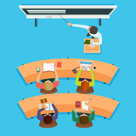 teach: Teacher standing and pointing at the modern interactive whiteboard teaching in front of the children sitting at the desks in classroom. Flat vector isolated illustration.