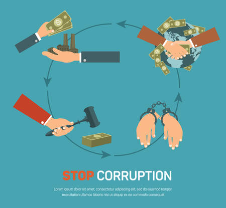 politics: Corruption infographic banner set with corrupt business and politics flat elements isolated vector illustration