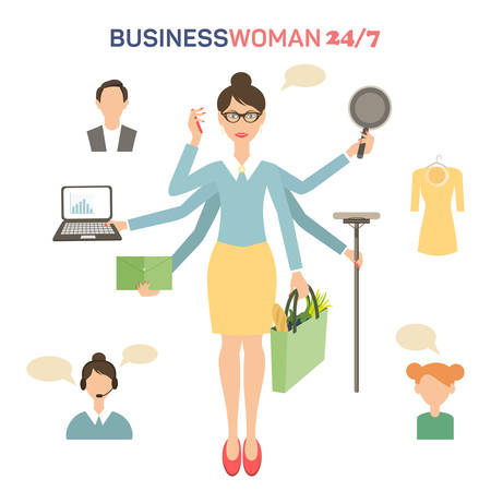 woman cellphone: Businesswoman with many hands multitasking design concept flat vector illustration