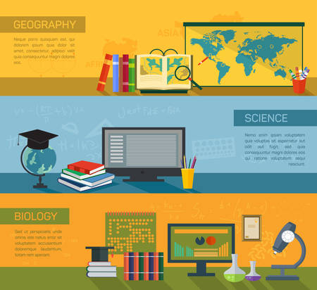 biology instruction: Online education flat horizontal banner set with distance tutorials and training elements, geography, biology and science, isolated vector illustration