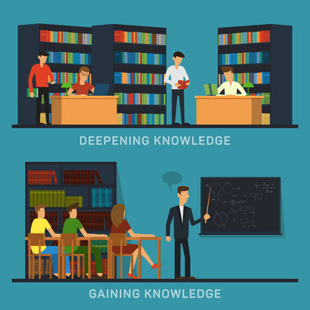 college professor: Science and education college students university examination power mind professor, study lessons, learning vector banners