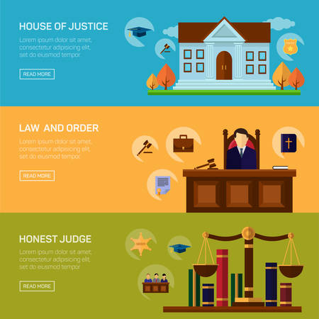 justice legal: Legal services crime and punishment law and order social responsibility banners set isolated illustration Illustration