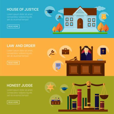 responsabilidad: Servicios de criminalidad legal y derecho castigo y de responsabilidad social para pancartas conjunto aislado ilustración