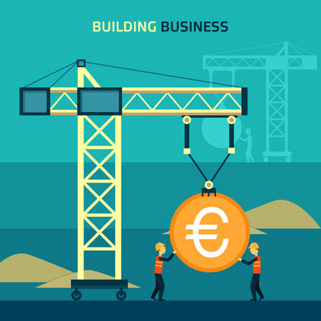 crane tower: Infographic business euro coin shape template design. Building to success concept vector illustration - graphic or web design layout.