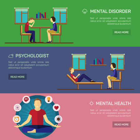 psychoanalysis: Mental disorder psychological treatment with principles of regaining balance flat horizontal banners set abstract isolated vector illustration