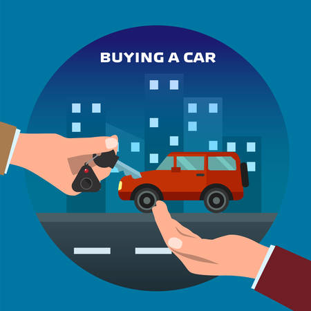 owner: Buying car. Man gets keys to the car. Sale and giving, automobile dealer, people buy, success owner or driving. Vector illustration