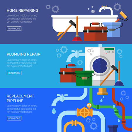ca�er�as: Reparaci�n de fontaner�a arreglar la tuber�a estorbo conjunto de banner horizontal ilustraci�n vectorial aislado