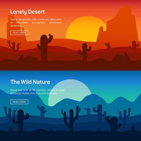 plantas del desierto: Conjunto de banner horizontal con solitaria del desierto y la naturaleza salvaje aislado ilustraci�n vectorial Vectores