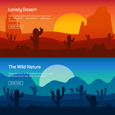 desert sunset: Horizontal banner set with lonely desert and wild nature isolated vector illustration Illustration