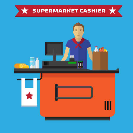 supermarket checkout: Supermarket store counter desk equipment and clerk in uniform ringing up grocery purchases. Flat style vector illustration isolated on blue background.