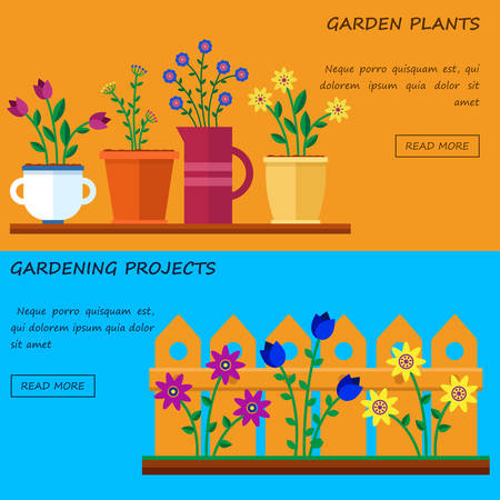 home garden: Flower shop. Hello spring and summer. Vector flat illustrations, icons and sprites for game. Banner for garden work and gardening projects.